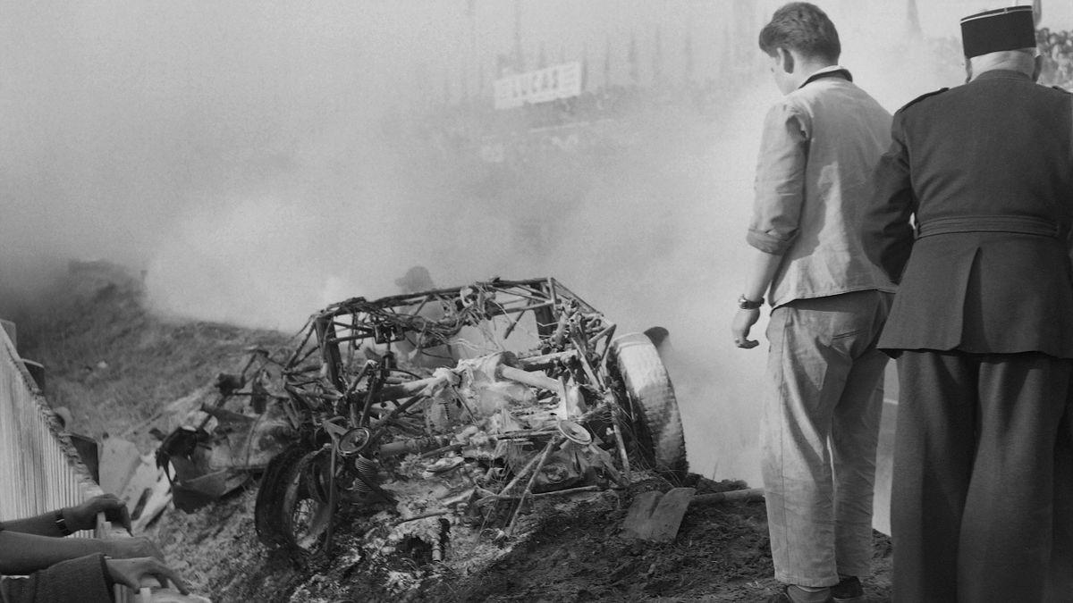 Un immagine della tragedia di Le Mans 1955, AFP