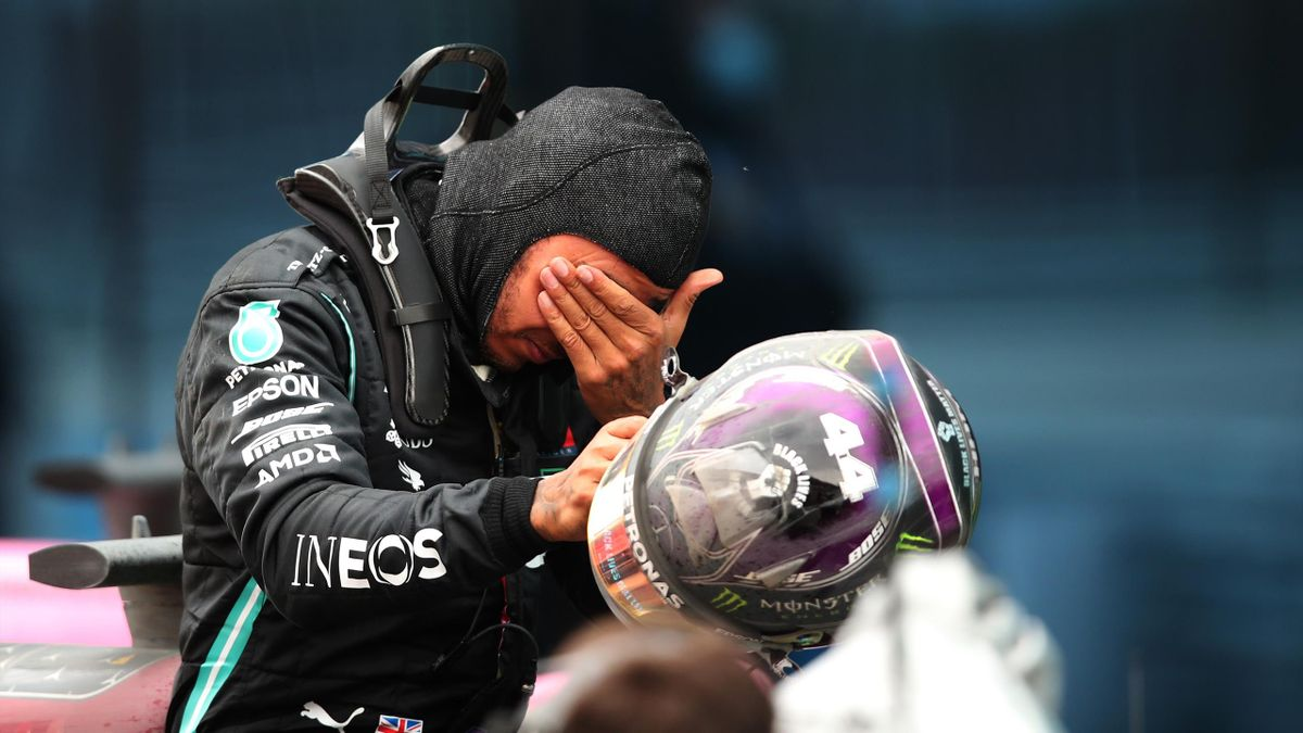 Race winner Lewis Hamilton of Great Britain and Mercedes GP celebrates winning a 7th F1 World Drivers Championship in parc ferme during the F1 Grand Prix of Turkey at Intercity Istanbul Park