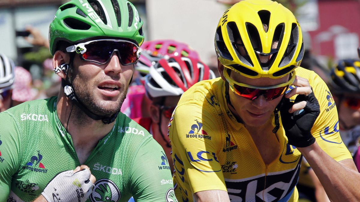 Yellow jersey leader Team Sky rider Chris Froome of Britain (R) rides with Team Dimension Data rider Mark Cavendish of Britain during the race.