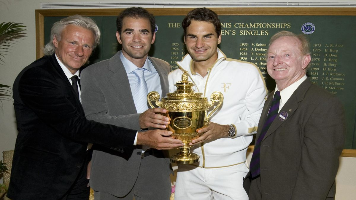 Bjorn Borg, Pete Sampras,  Roger Federer, Rod Laver