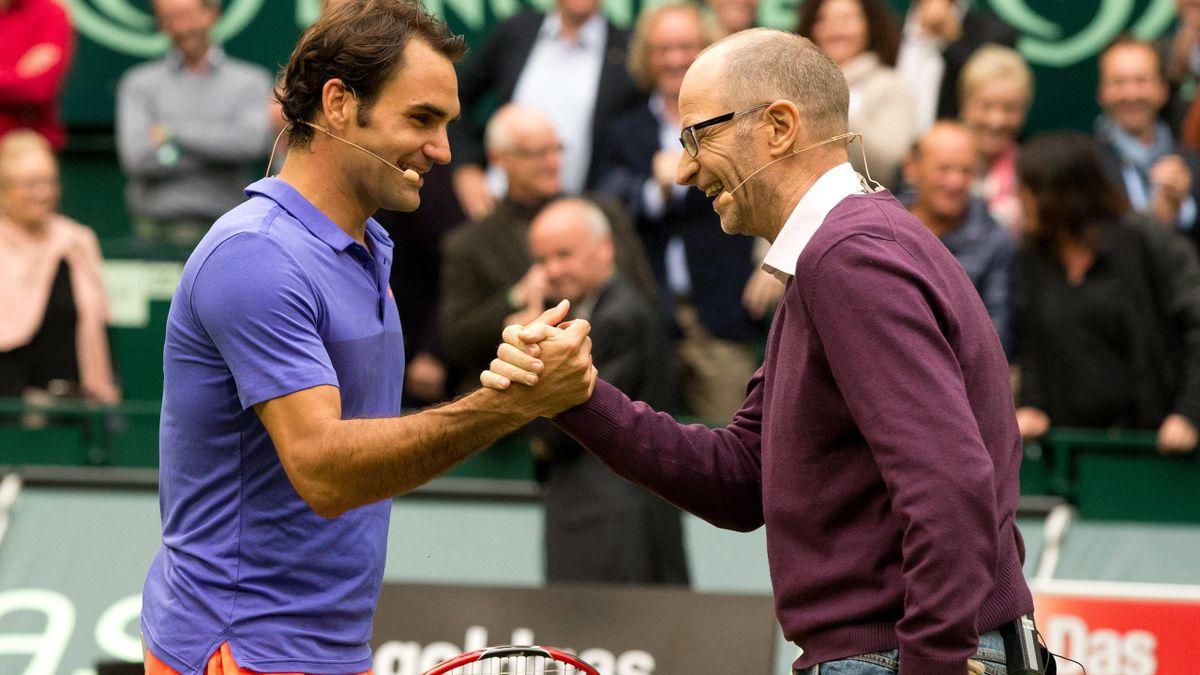 Roger Federer (li.) und Matthias Stach (re.)