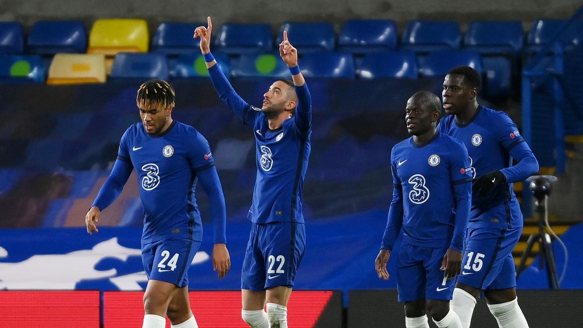 Hakim Ziyech of Chelsea celebrates with teammates Reece James, Ngolo Kante and Kurt Zouma after scoring their team's first goal during the UEFA Champions League Round of 16 match between Chelsea FC and Atletico Madrid at Stamford Bridge on March 17, 2021