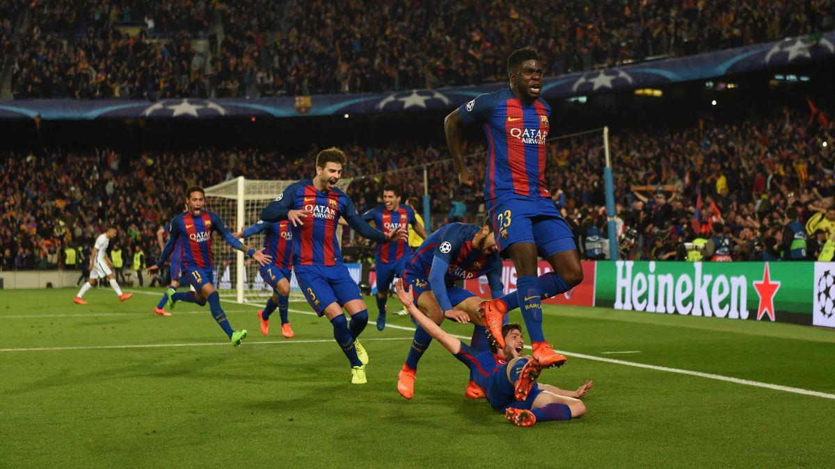 Umtiti et les Barcelonais exultent après le sixième but