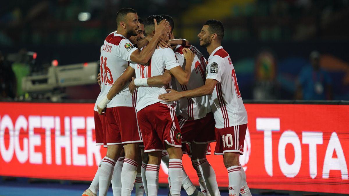 L'esultanza dei giocatori del Marocco - Coppa d'Africa 2019