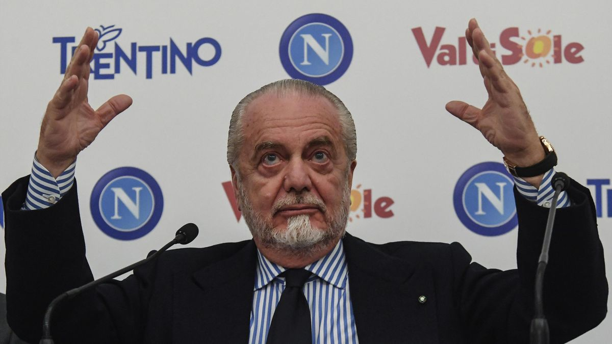 The press conference of Aurelio De Laurentiis President of SSC Napoli, Sportive Soccer Society of Naples.