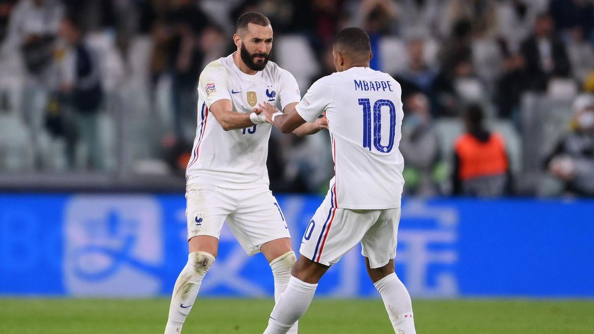 Karim Benzema and Kylian Mbappe of France celebrate, Belgium v France, Nations League semi-final, Juventus Stadium, Turin, Italy, October 7, 2021