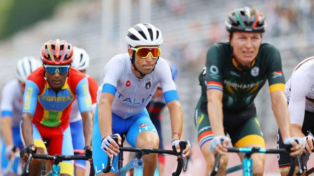Vincenzo Nibali durante la prova olimpica di Tokyo 2020