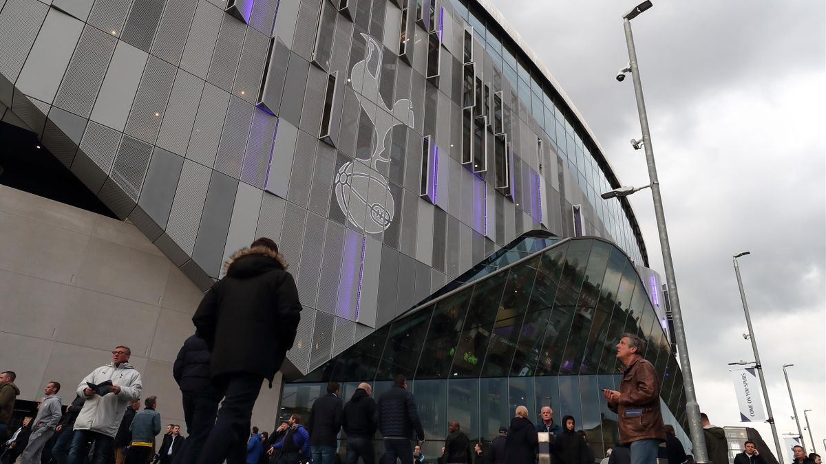 Fans making their way to the Tottenham Hotspur Stadium during the Premier League match between Tottenham Hotspur and Crystal Palace at Tottenham Hotspur Stadium on April 3, 2019 in London, United Kingdom