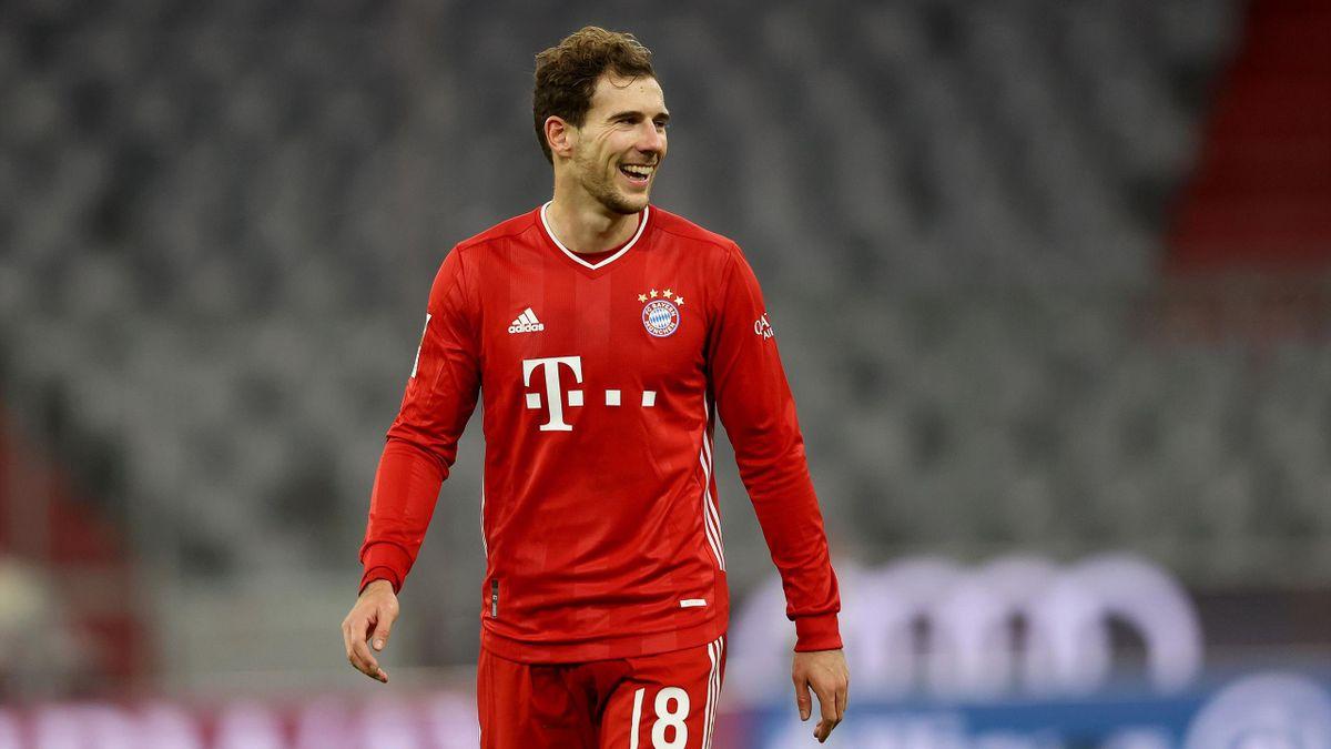 Leon Goretzka of Bayern München smiles during the Bundesliga match between FC Bayern Muenchen and SV Werder Bremen at Allianz Arena on November 21, 2020 in Munich, Germany