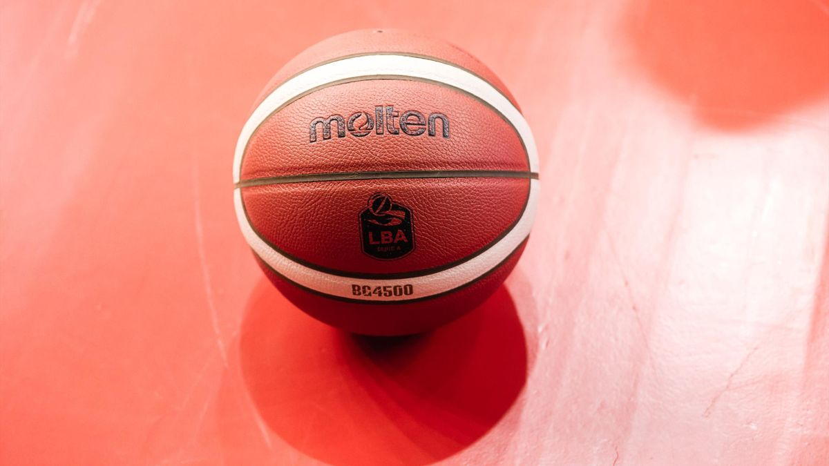Molten official LBA match ball during the Italy Lega Basket of Serie A match between Grissin Bon Reggio Emilia and Dolomiti Energia Trentino at PalaBigi on September 28, 2019 in Reggio Emilia, Italy.