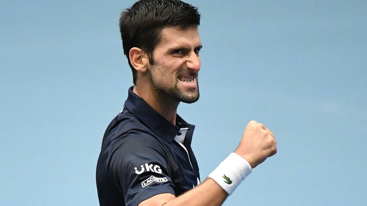 Novak Djokovic reacts after his match against Croatia's Borna Coric during the Erste Bank Open ATP tennis tournament in Vienna