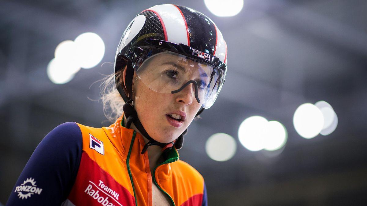 Lara van Ruijven of Netherlands prepares in the Ladies 500m semi-final during day two of the European Short Track Speed Skating Championships at EnergieVerbund Arena on January 13, 2018 in Dresden, Germany.