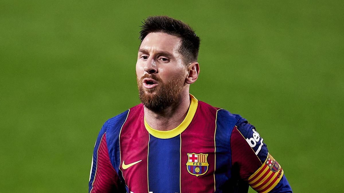 Lionel Messi of FC Barcelona looks on during the Copa del Rey Semi Final Second Leg match between FC Barcelona and Sevilla at Camp Nou on March 03, 2021 in Barcelona, Spain.