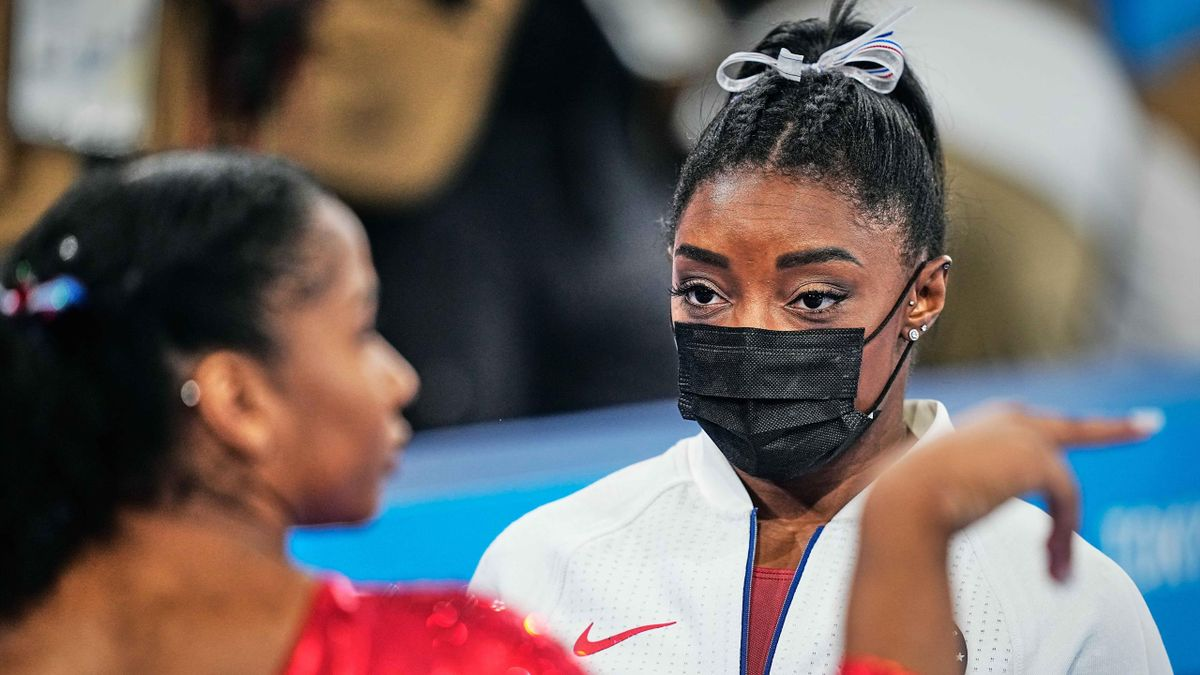 Simone Biles of United States of America during women's Artistic Gymnastics team final at the Olympics