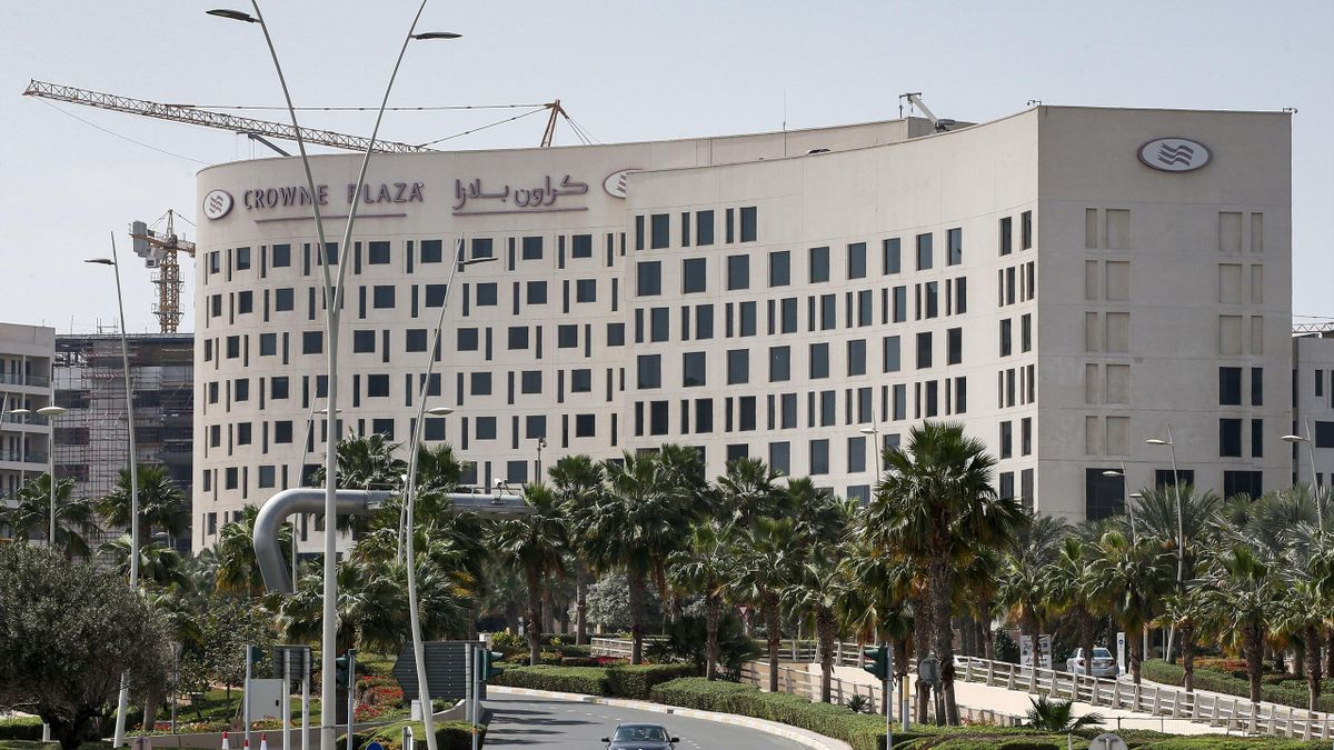 This picture picture taken on February 28, 2020 shows a view of the Crowne Plaza hotel at Yas Island Abu Dhabi, where two Italian cyclists participating in the UAE Tour tested positive for COVID-19 coronavirus disease, prompting the cancellation of the fi