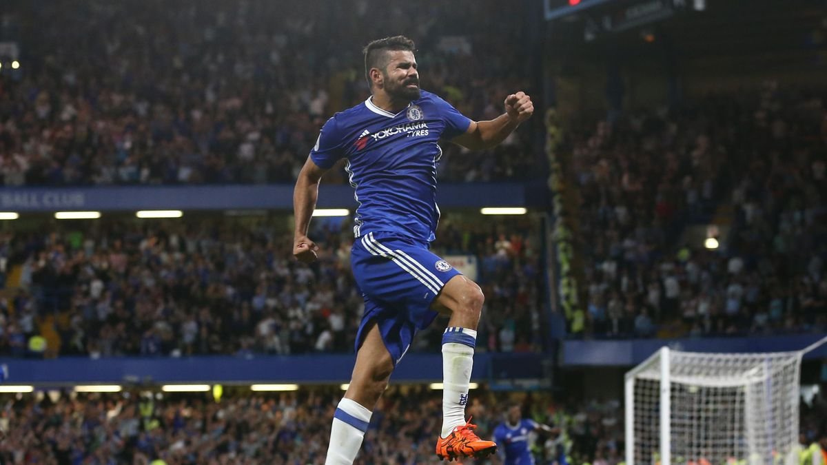 Chelsea's Brazilian-born Spanish striker Diego Costa celebrates after scoring their second goal during the English Premier League football match between Chelsea and West Ham United at Stamford Bridge in London on August 15, 2016.