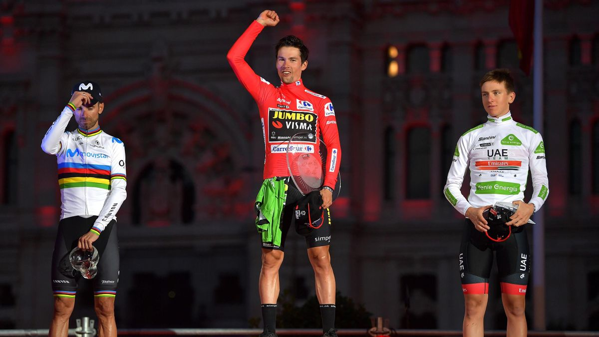 Podium / Alejandro Valverde Belmonte of Spain and Movistar Team / Primoz Roglic of Slovenia and Team Jumbo-Visma Red Leader Jersey / Tadej Pogacar of Slovenia and UAE Team Emirates White Best Young Rider Jersey / Celebration / Trophy / Madrid Town Hall /