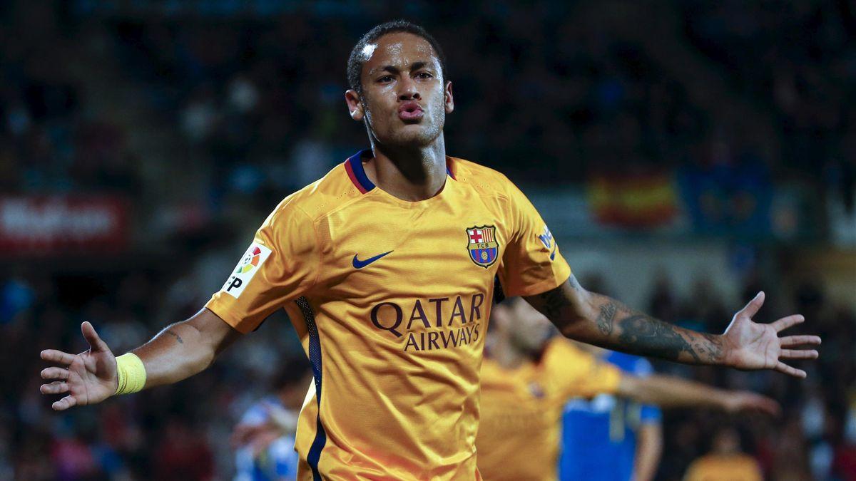 Barcelona's Neymar celebrates his goal against Getafe