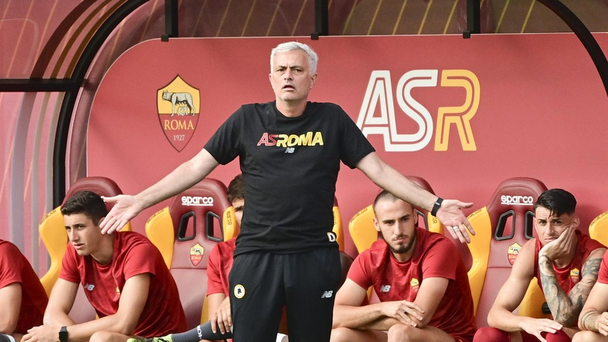 AS Roma coach Josè Mourinho reacts during the Pre-Season Friendly match between AS Roma and Montecatini at Centro Sportivo Fulvio Bernardini on July 15, 2021 in Rome, Italy.