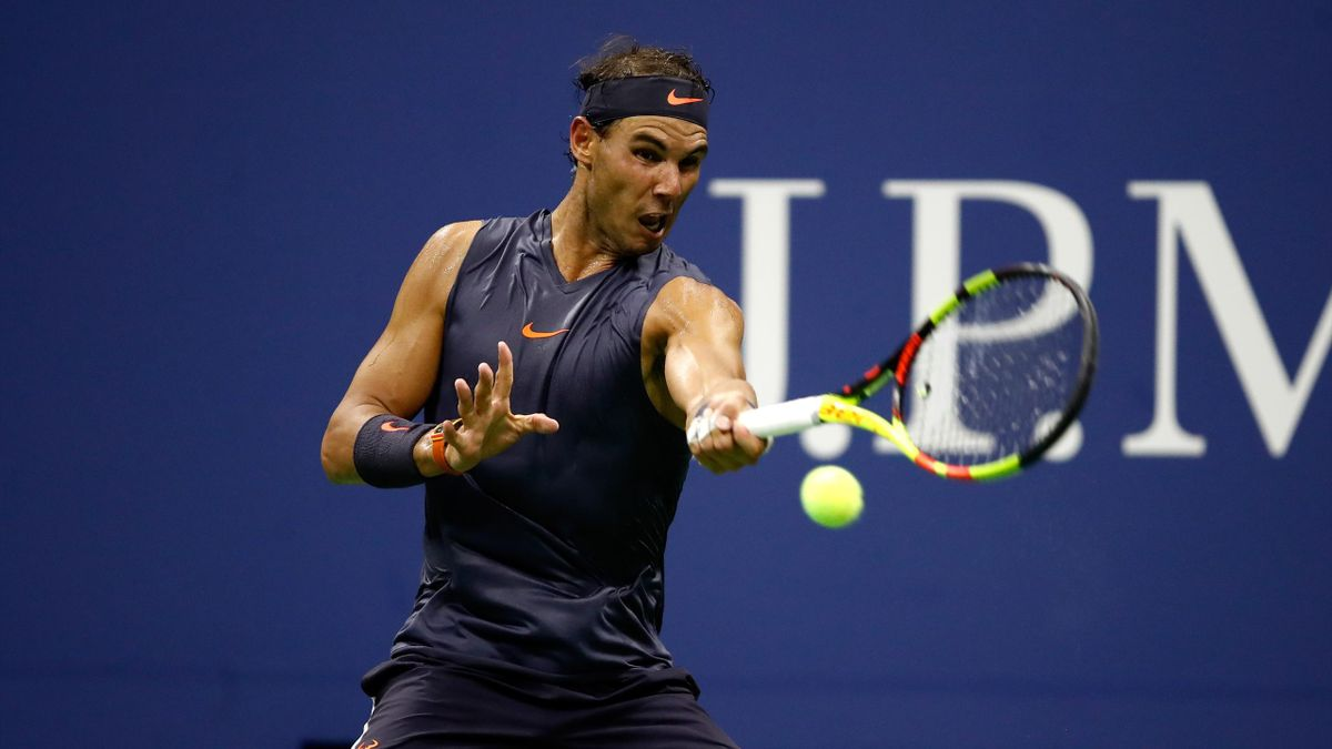 Rafael Nadal of Spain returns the ball during his men's singles first round match against David Ferrer of Spain on Day One of the 2018 US Open at the USTA Billie Jean King National Tennis Center on August 27, 2018 in the Flushing neighborhood of the Queen