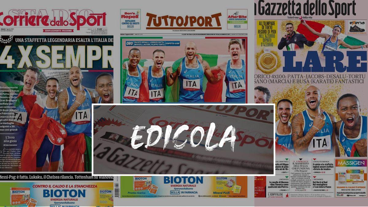 Edicola   Prime pagine oro 4x100 Italia