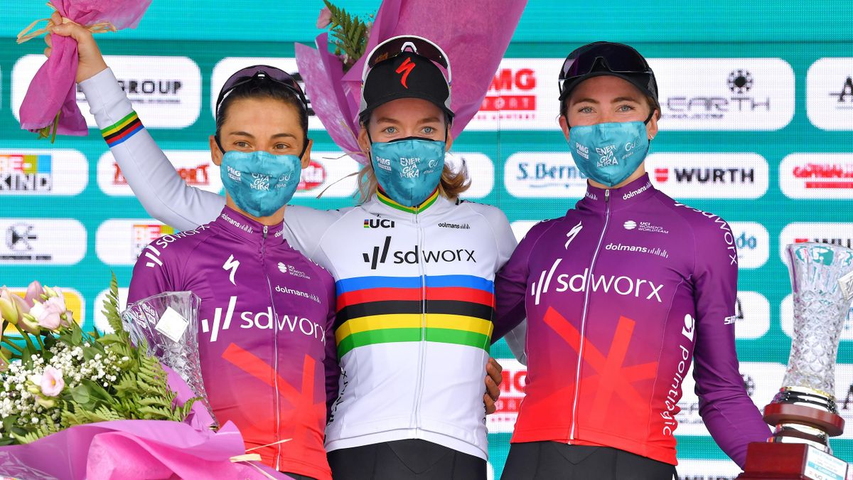 Anna Van Der Breggen of Netherlands and Team SD Worx stage winner celebrates at podium during the 32nd Giro d'Italia Internazionale Femminile 2021