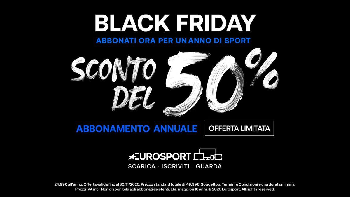 Eurosport Black Friday 2020: 50% sull'abbonamento annuale