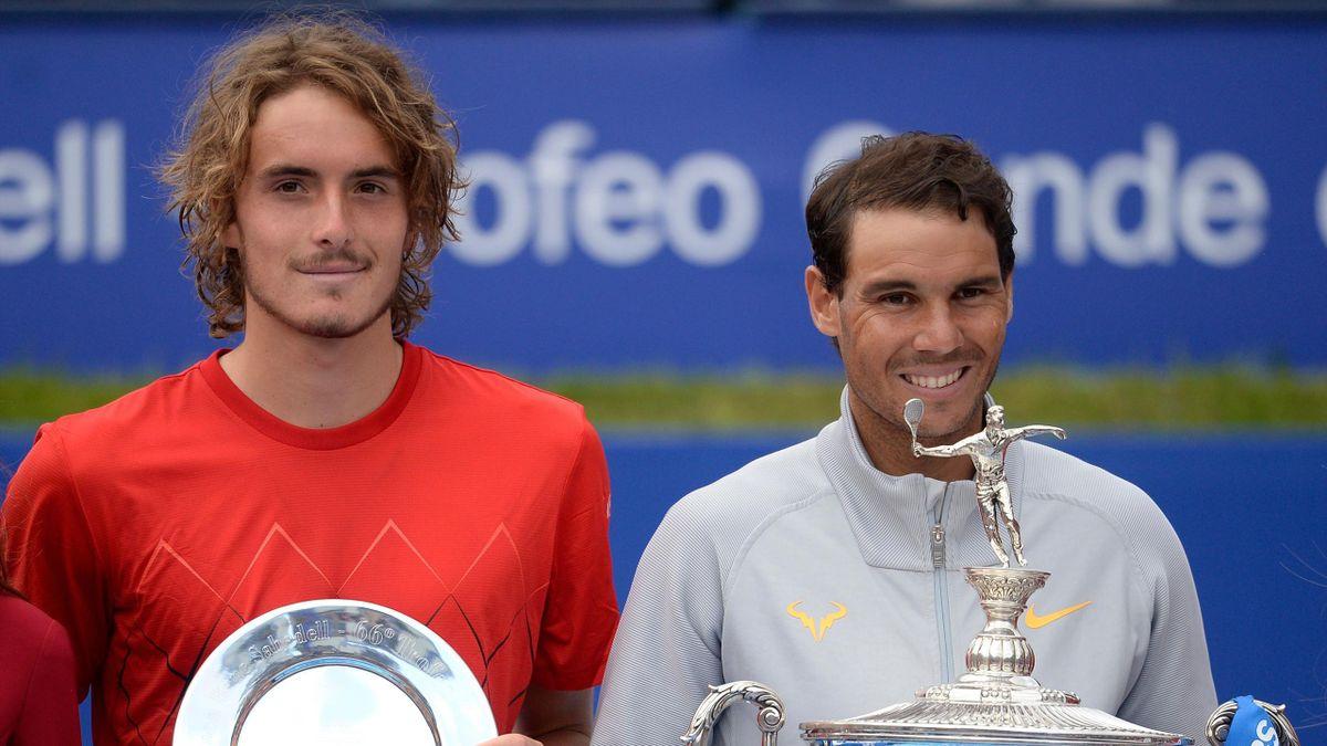 Stefanos Tsitsipas e Rafael Nadal alla premiazione del torneo di Barcellona 2018