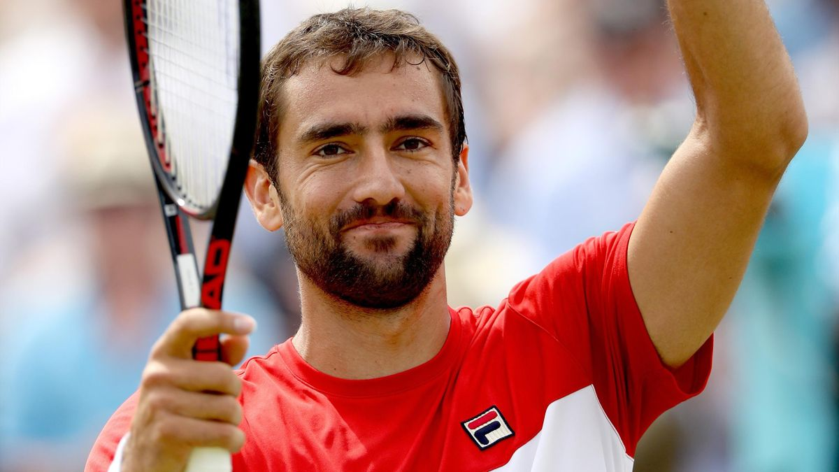 Marin Cilic of Croatia celebrates his win during his men's singles semifinal match against Nick Kyrgios of Australia on Day Six of the Fever-Tree Championships at Queens Club on June 23.