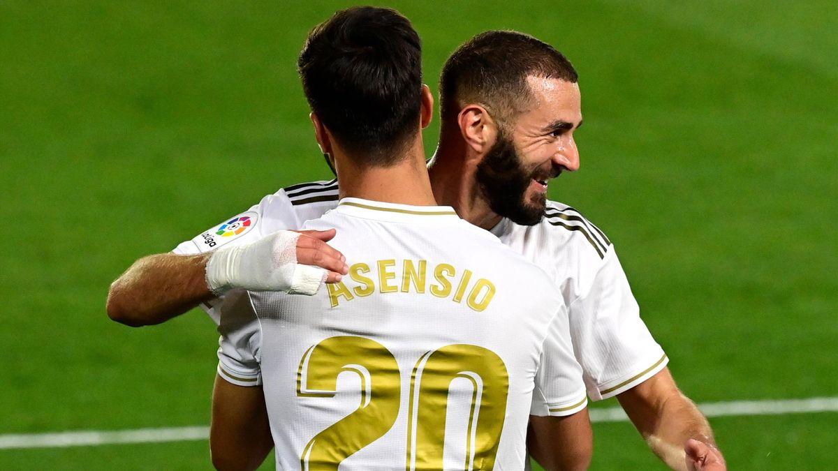 Karim Benzema et Marco Asensio lors de Real Madrid - Valence, le 18 juin 2020