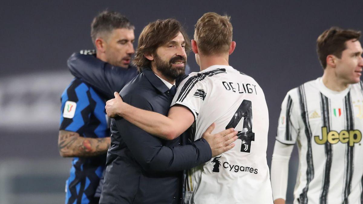 Andrea Pirlo abbraccia Matthijs De Ligt dopo lo 0-0 con l'Inter che certifica l'ingresso in finale di Coppa Italia, Getty Images