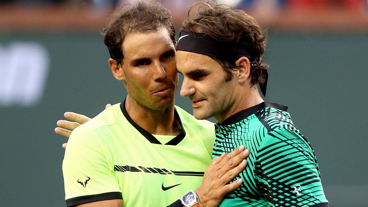 Rafael Nadal with Roger Federer at Indian Wells