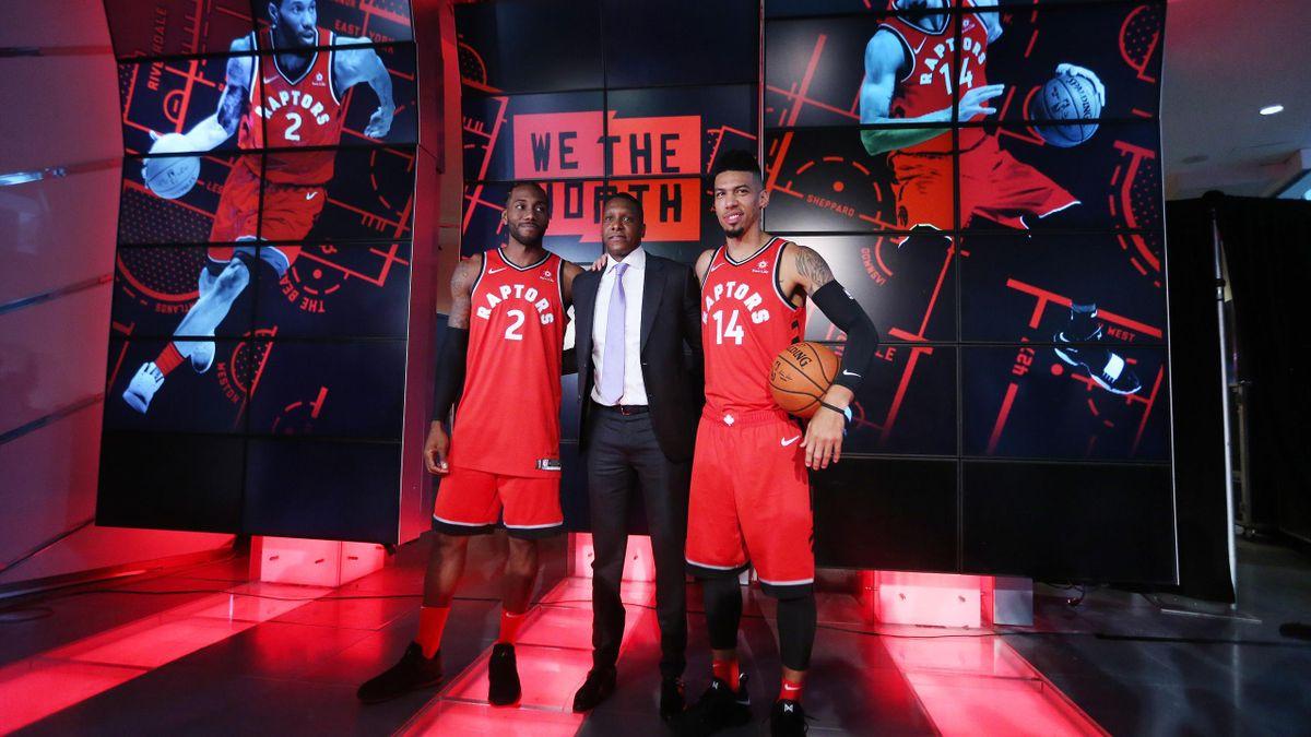 Masai Ujiri con Kawhi Leonard e Danny Green, Toronto Raptors NBA 2018-19
