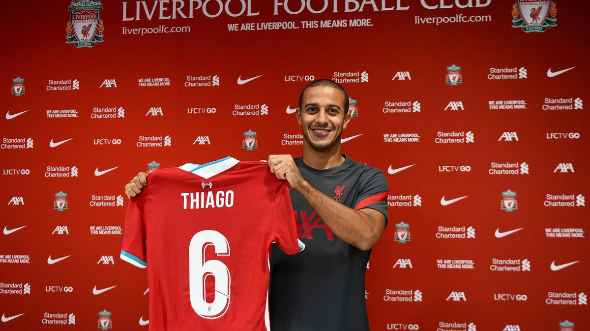 Thiago Alcantara new signing of Liverpool at Anfield on September 18, 2020 in Liverpool, England