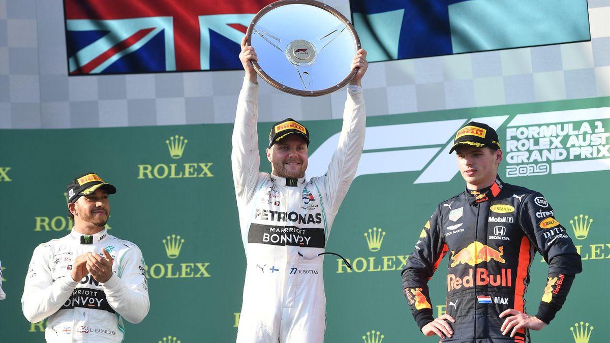 Valtteri Bottas, Lewis Hamilton y Max Verstappen - GP Australia 2019