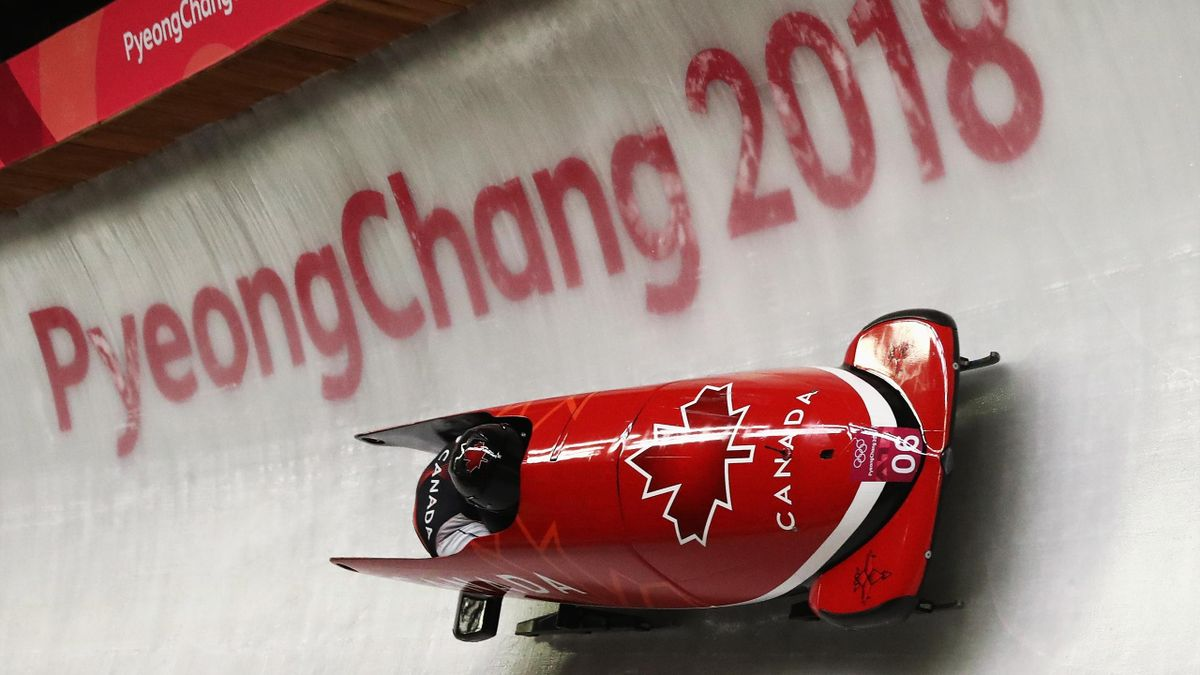 Justin Kripps and Alexander Kopacz of Canada slide during the Men's 2-Man Bobsleigh on day 10 of the PyeongChang 2018 Winter Olympic Games at Olympic Sliding Centre on February 19, 2018 in Pyeongchang-gun, South Korea.