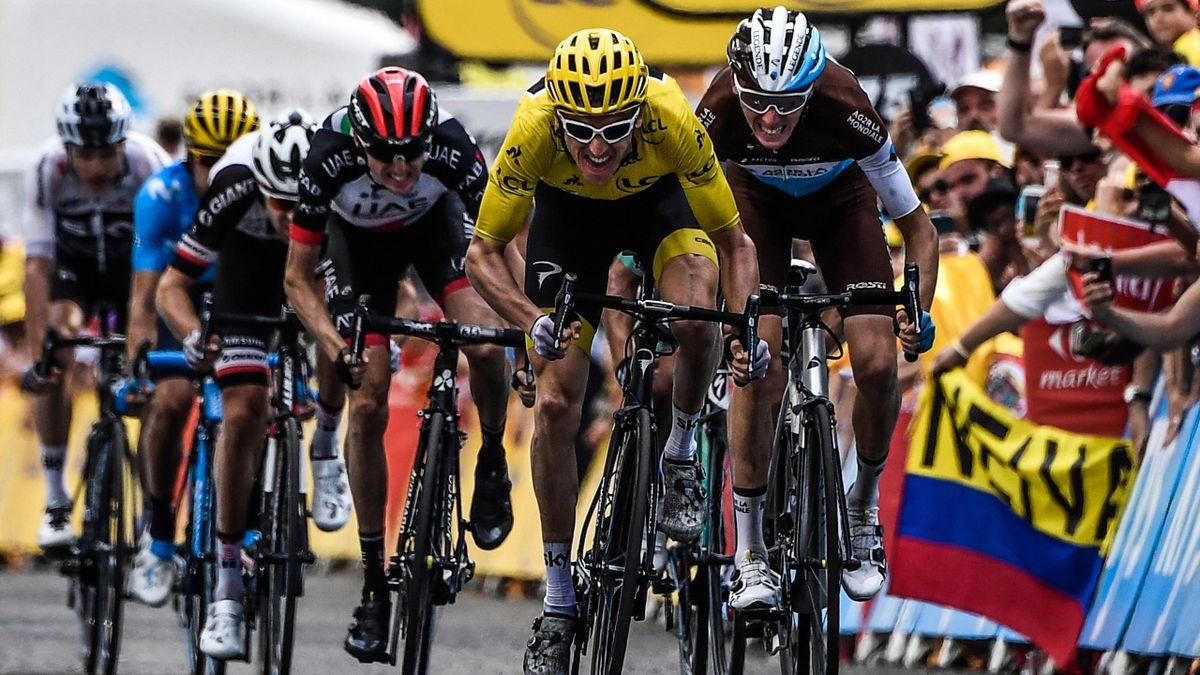 Geraint Thomas à l'arrivée de la 19e étape du Tour 2018