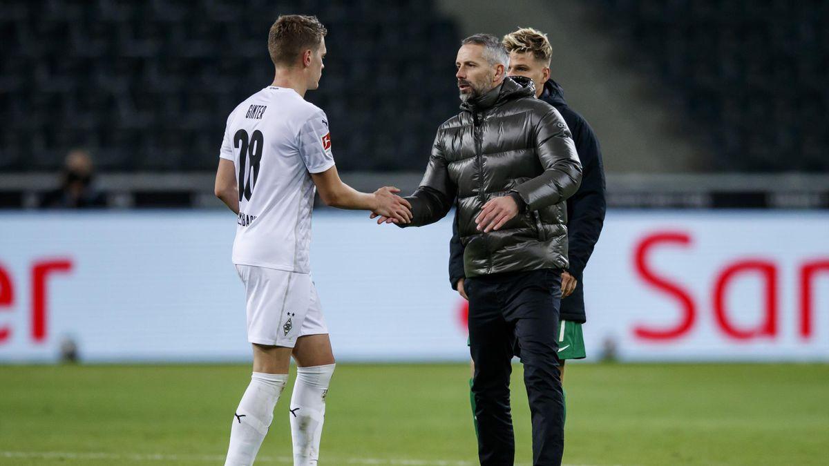 Matthias Ginter (l.) und Noch-Gladbach-Trainer Marco Rose