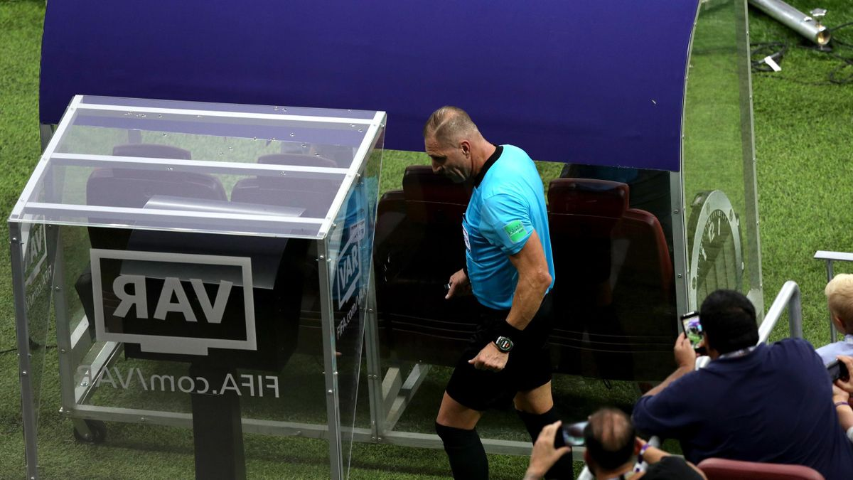 World Cup Final referee Nestor Pitana consults the VAR monitor