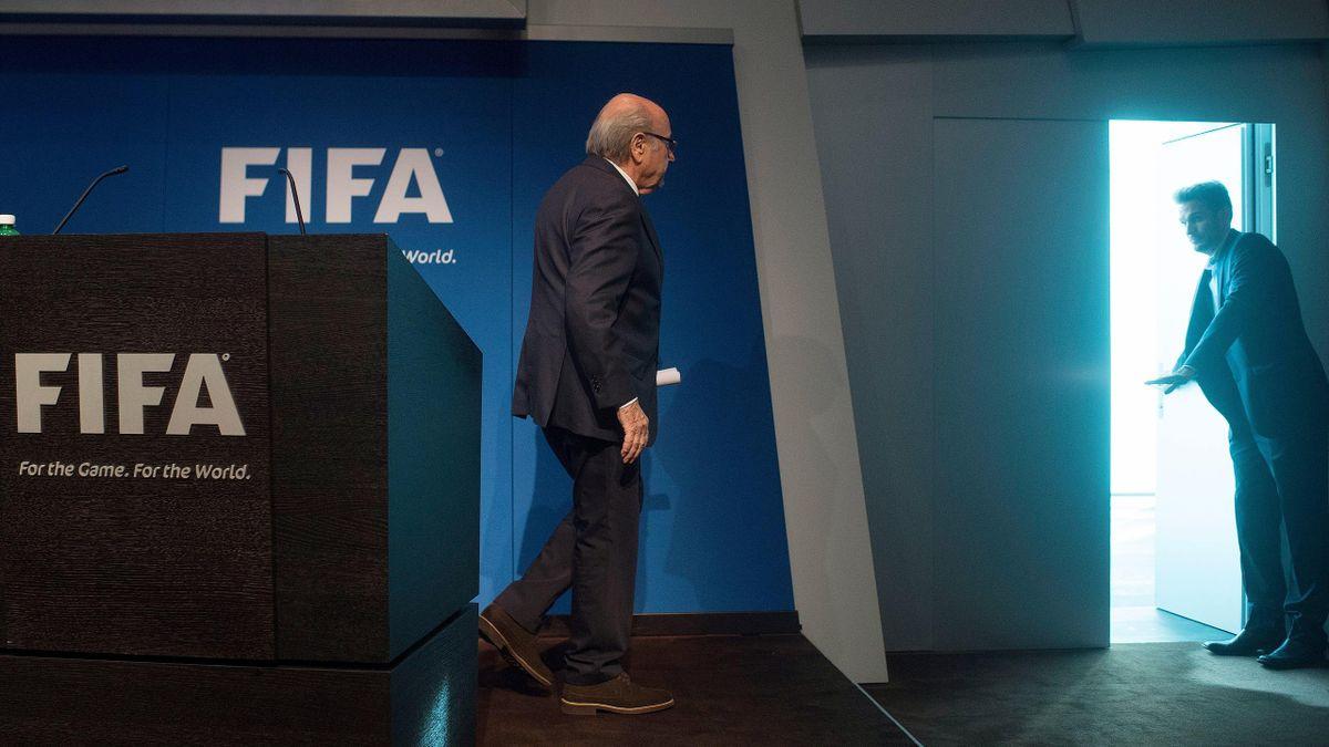 Sepp Blatter, le président de la FIFA, lors de sa conférence de presse - 2015