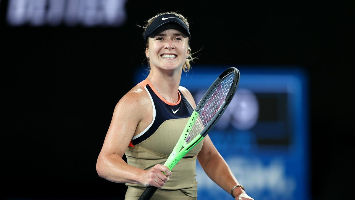 Elina Svitolina of Ukraine celebrates winning match point in her Women's Singles second round match against Coco Gauff of the United States during day four of the 2021 Australian Open at Melbourne Park