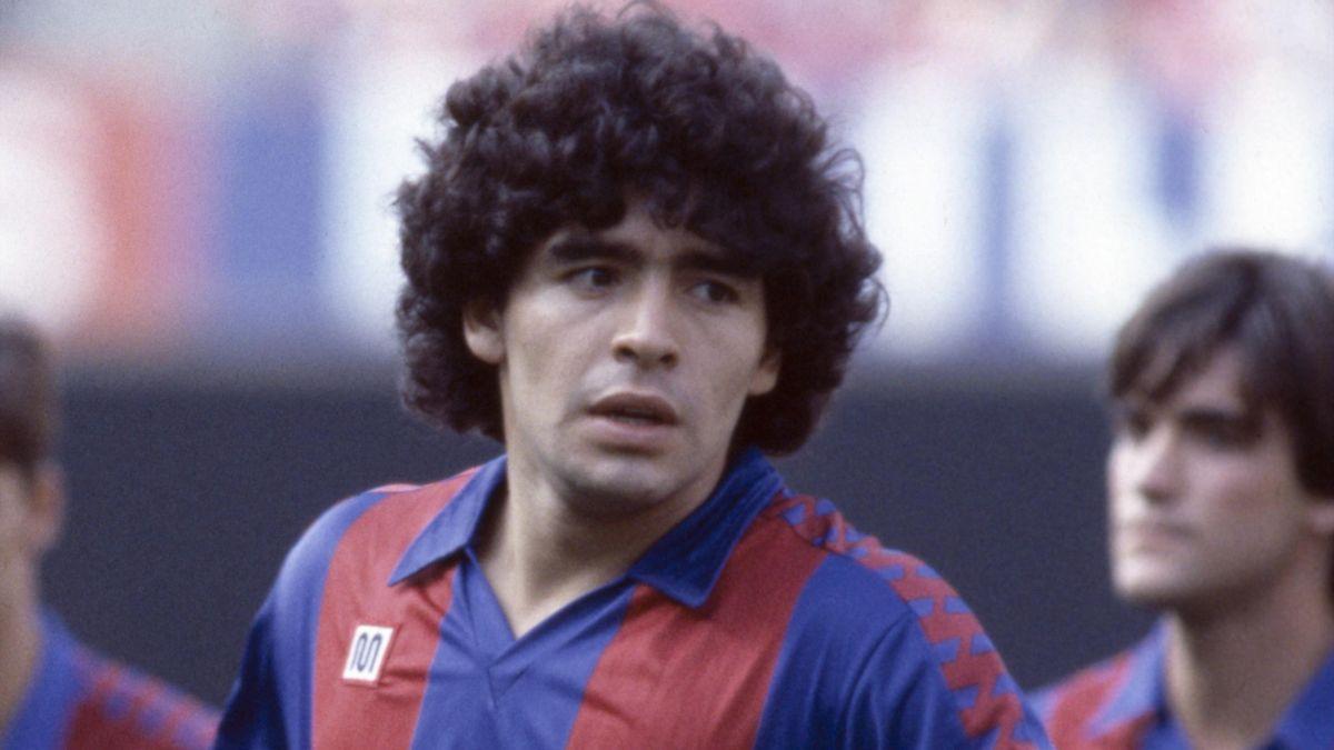 Diego Maradona at Barcelona's pre-season photocall at the Nou Camp in Barcelona, 28th July 1982.