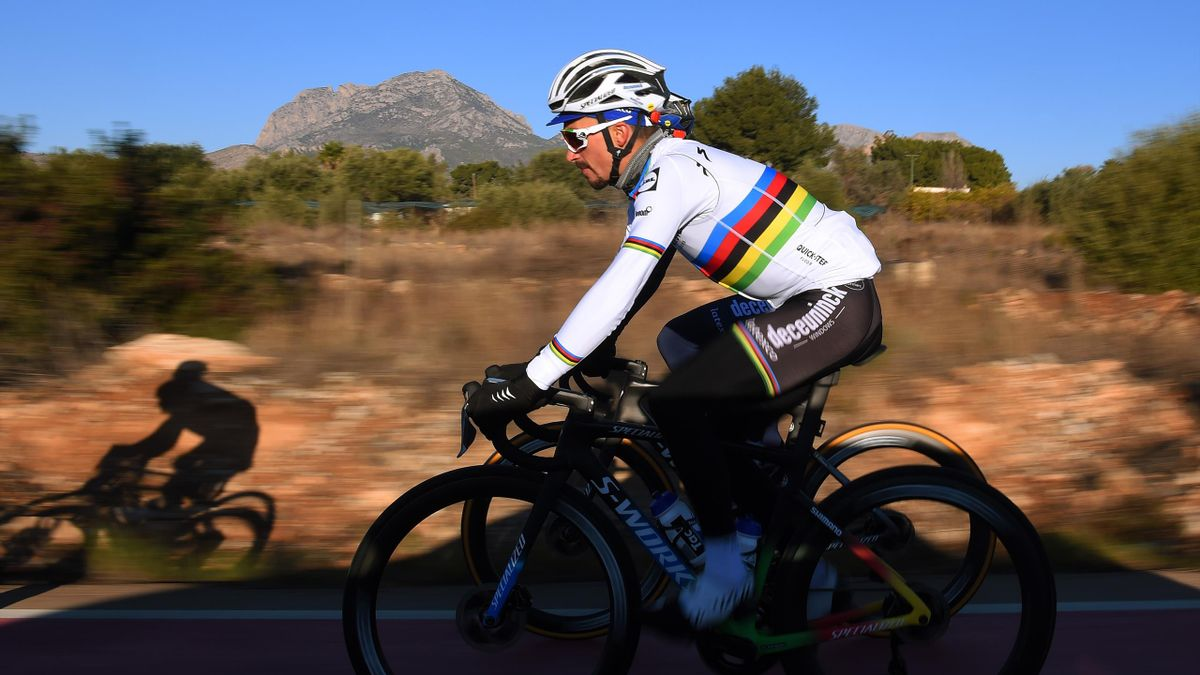 ALTEA, SPAIN - JANUARY 12: Julian Alaphilippe of France World Champion jersey with S-Works Tarmac SL Specialized bike during the Team Deceuninck - Quick-Step 2021, Training Camp / @deceuninck_qst / #TheWolfpack / on January 12, 2021 in Altea, Spain. (Phot
