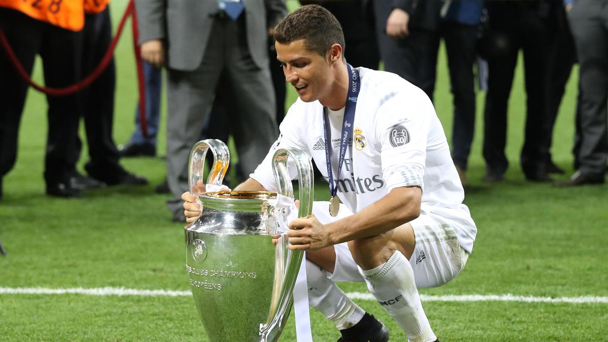 Real Madrid star Cristiano Ronaldo with the Champions League trophy