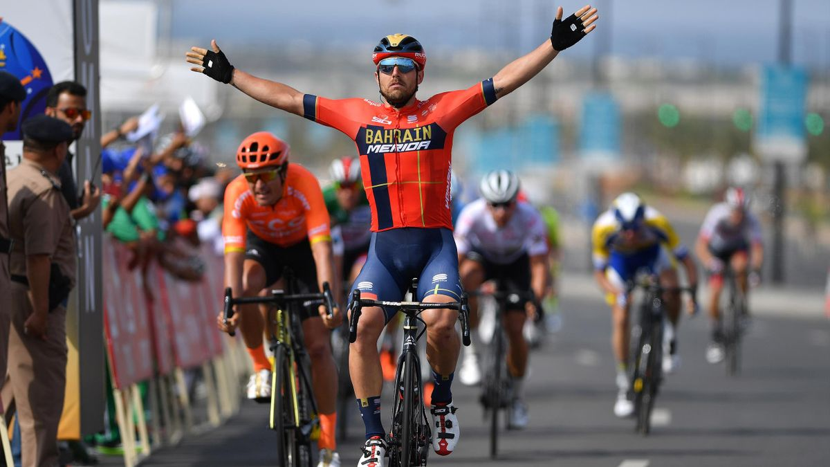 Sonny Colbrelli of Italy and Team Bahrain - Merida / Celebration / Greg Van Avermaet of Belgium and CCC Team / during the 10th Tour of Oman 2019, Stage 4 a 131km stage from Yiti al Sifah to Muscat.