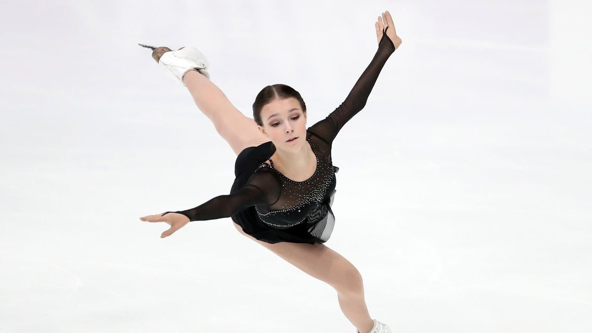 Anna Scherbakova competes in the Jump Competition at the Channel One Figure Skating Cup at the Megasport Sports Palace. The Jump Competition is a three-round contest between the mens team and the womens team, in which skaters execute jumps