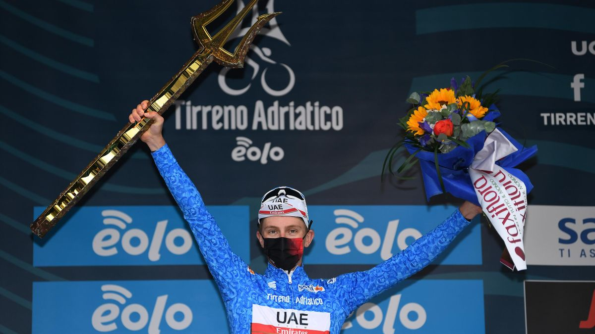 Podium / Tadej Pogacar of Slovenia and UAE Team Emirates Blue Leader Jersey Celebration, during the 56th Tirreno-Adriatico 2021, Stage 7 a 10,1km Individual Time Trial stage from San Benedetto del Tronto to San Benedetto del Tronto / Trident Trophy / Mask