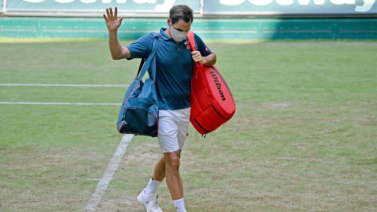 Roger Federer nach seinem Aus in Halle 2021 gegen Félix Auger-Aliassime