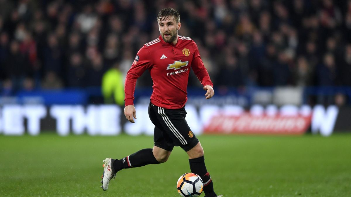 Luke Shaw of Manchester United during the The Emirates FA Cup Fifth Round match between Huddersfield Town and Manchester United on February 17, 2018 in Huddersfield, United Kingdom.