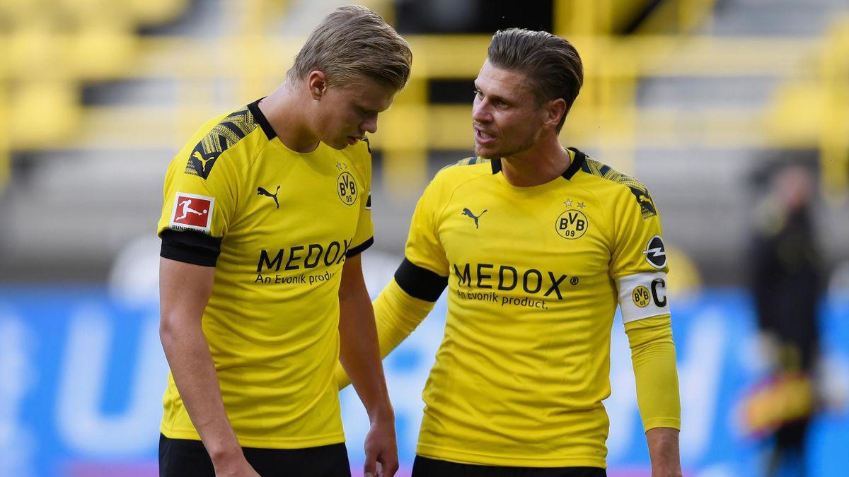 BVB-Profis Haaland (li.) und Piszczek (re.)